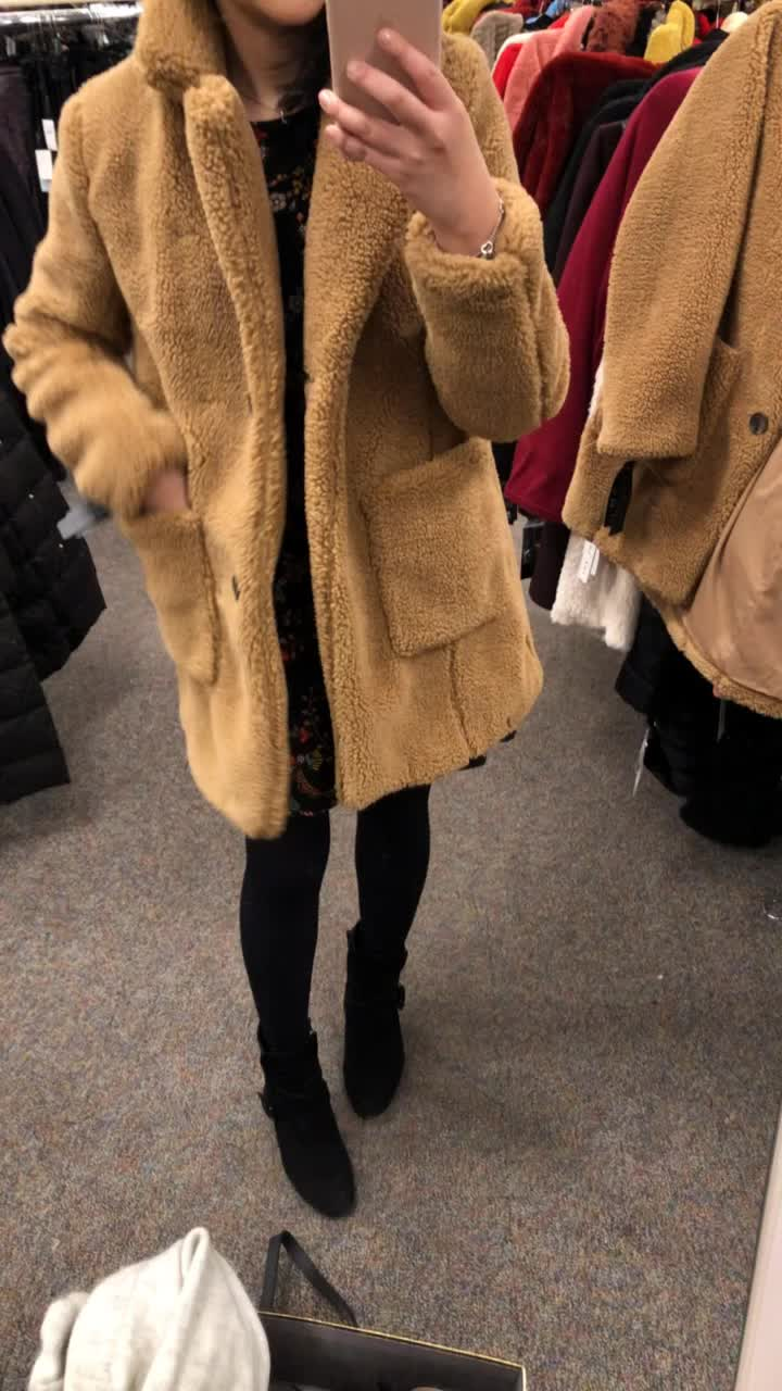 Sebby Clothing Faux Shearling Jacket in light nutmeg, size S