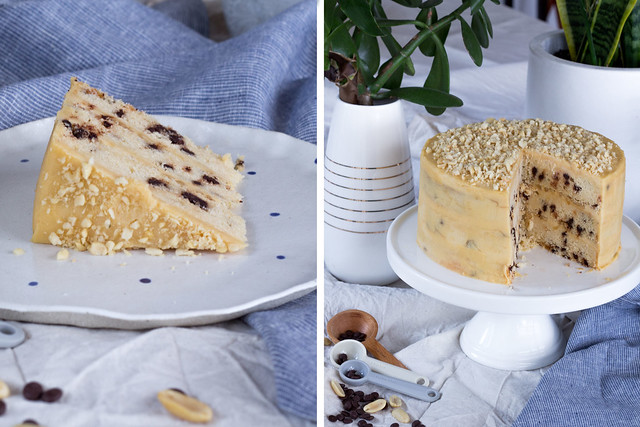 Choc chip cake with peanut butter icing