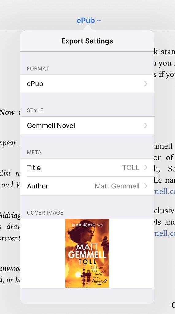 Ulysses epub export popover, with custom book cover selected.