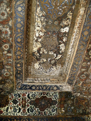 The elaborately painted ceiling at the Baby Taj, aka Itimad-ud-Daulah, a Mughal structure built completely from marble containing the tomb of the Persian nobleman