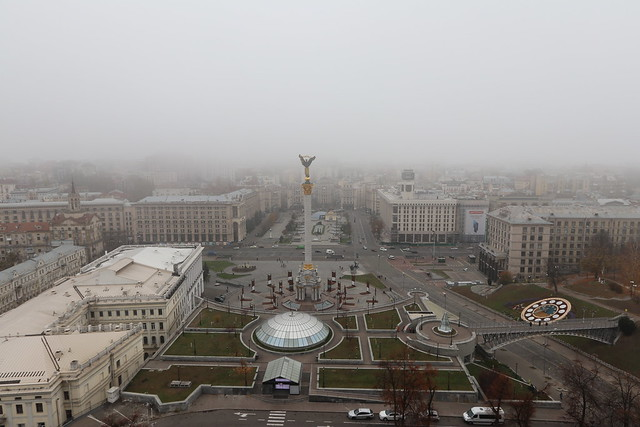 Maidan Square with mist, Kiev. Ukraine