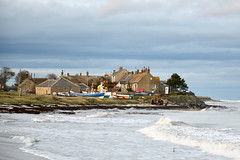 Boulmer fishing boats and cottages