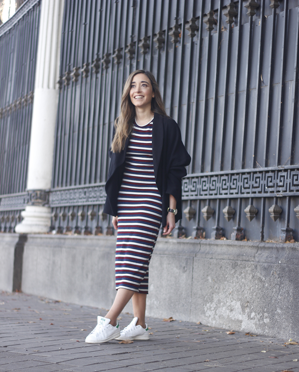 midi dress casual outfit adidas stan smith sneakers blazer street style outfit 20187819