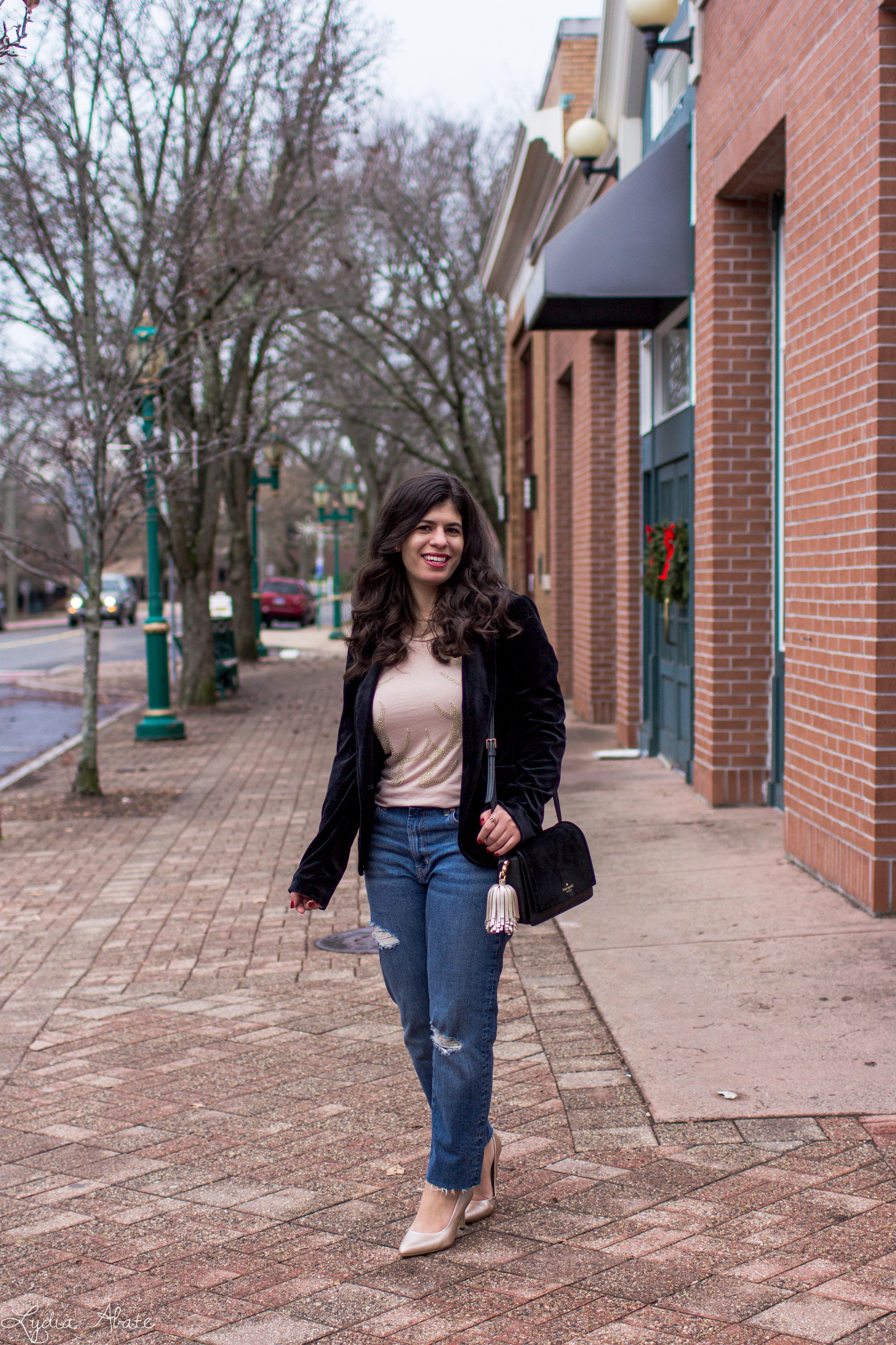 velvet blazer, distressed jeans, antler tee, nude pumps-1.jpg