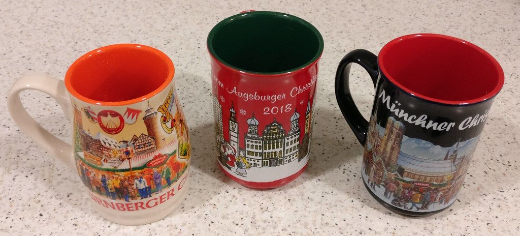 Three Glühwein mugs from my favorite towns of the trip: Nuremberg, Augsburg and Munich