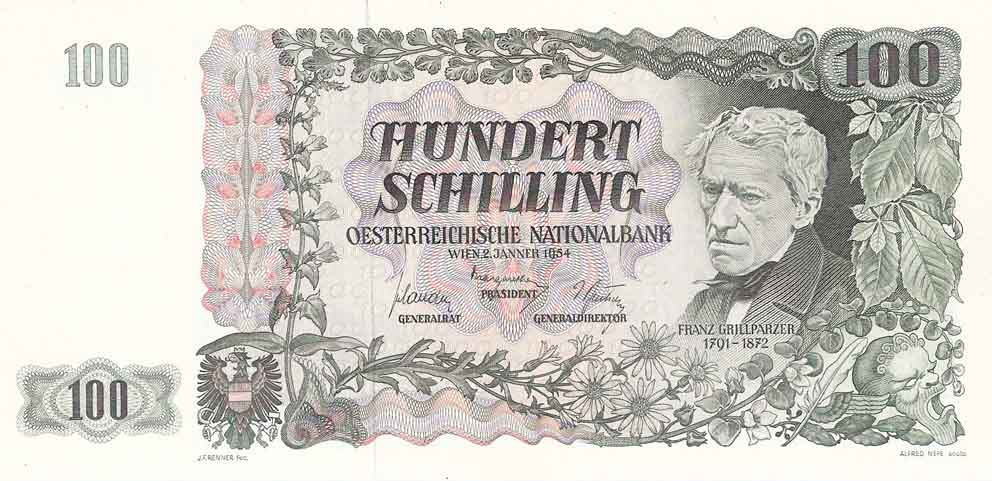 Obverse side of Austrian 100 Schilling note picturing the writer Franz Grillparzer, issued in 1954.