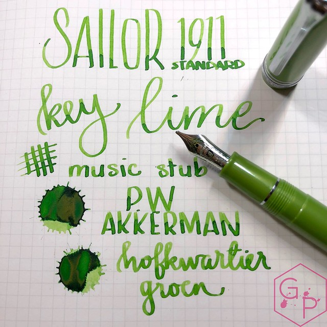 Sailor 1911S Key Lime Fountain Pen Music Nib 18