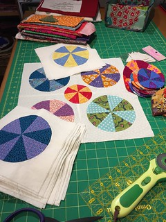 """Pies and Tarts"" hand pieced, hand Applique, pattern by Sue Daley. I almost have enough to start putting it all together, a good winter project. 