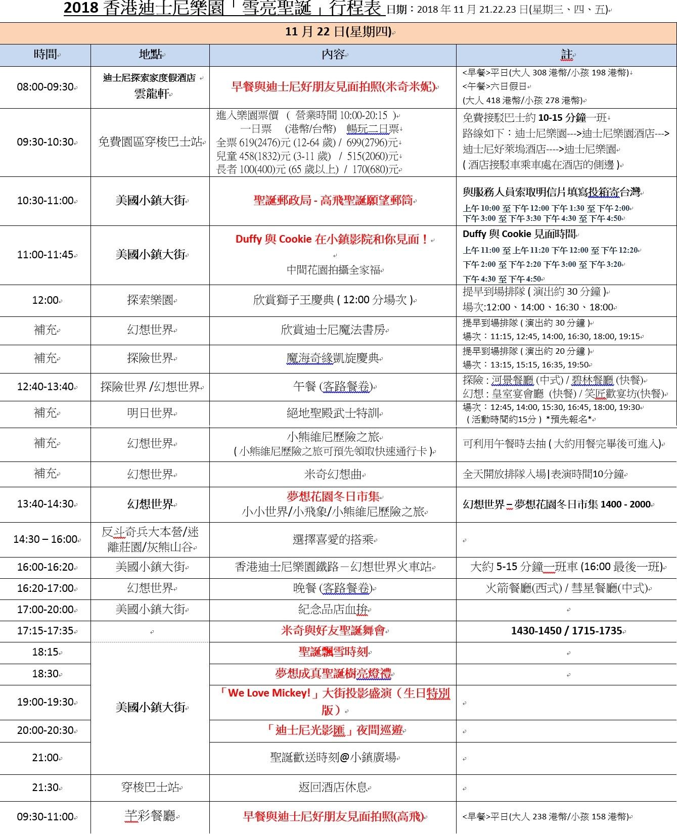 香港迪士尼樂園行程表-20181119(新版)
