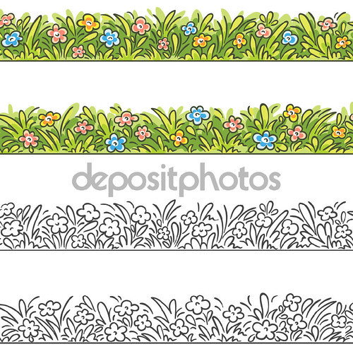 Seamless border of cartoon grass and flowers.