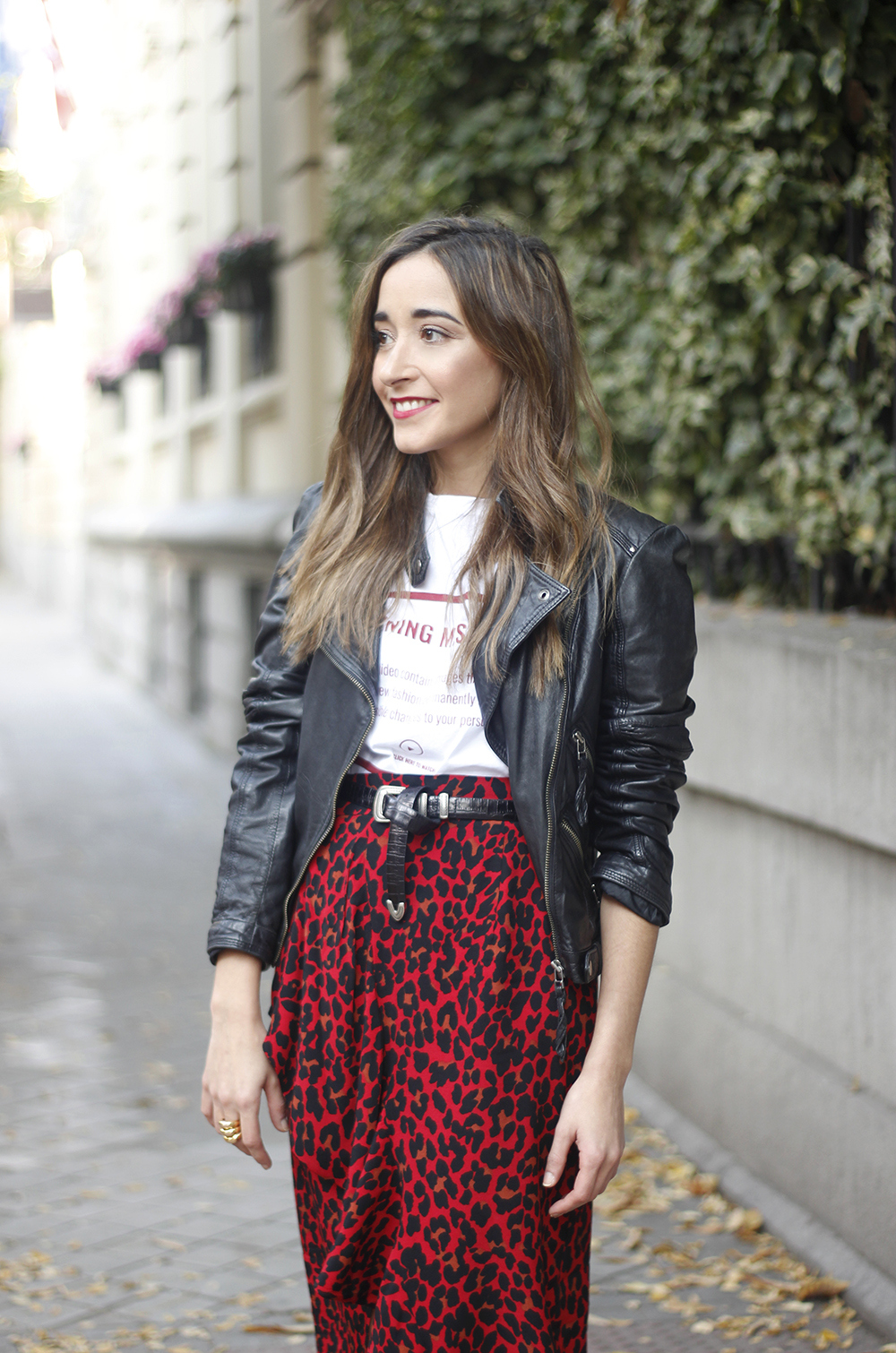 midi skirt red leopard print trend black biker jacket converse street style fall outfit 20186133