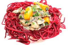 "RED BEET ""PASTA"" WITH MUSHROOM CREAM"