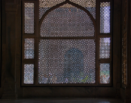 Pierced screen in a window in the walled city of Fatehpur Sikri near Agra in India