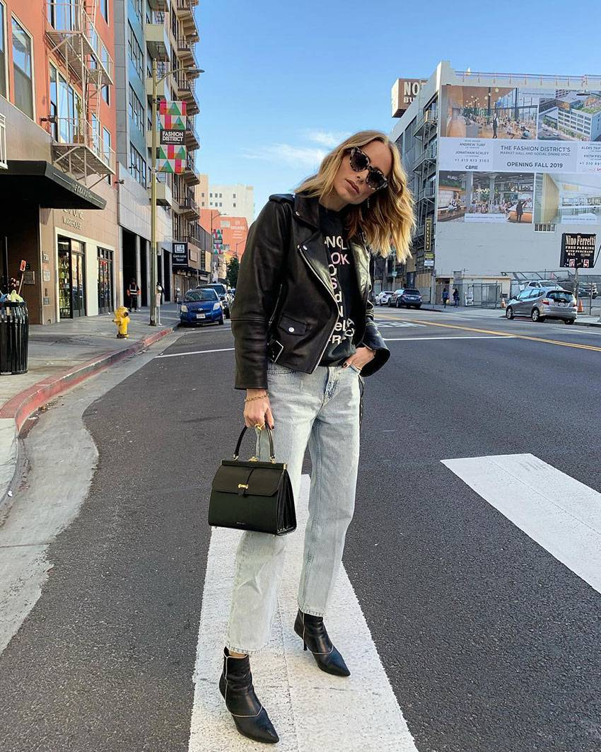 black ankle boots sock boots street style outfit 201910