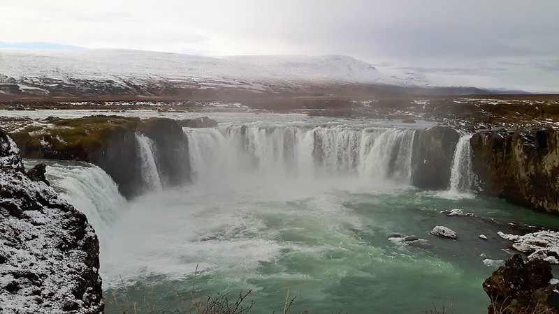 View of horseshoe-shaped Godafoss Waterfall, Iceland from above