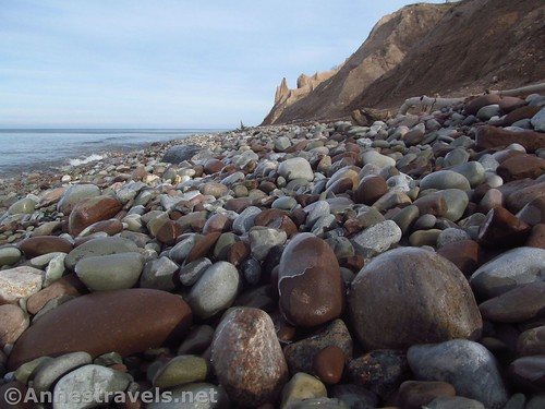 Icy rocks along the shore of Lake Ontario at Chimney Bluffs State Park, New York