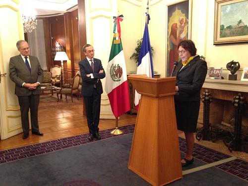 Entrega del reconocimiento de la Orden Mexicana del Águila Azteca a la Dra. Catherine Bréchignac