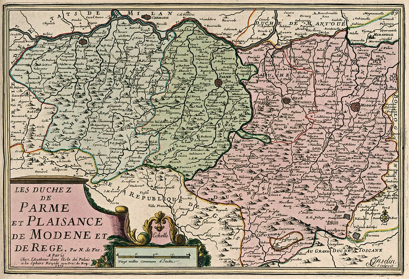 Nicolas de Fer - Les Duchez de Parme et Plaisance de Modene et de Rege (1705)