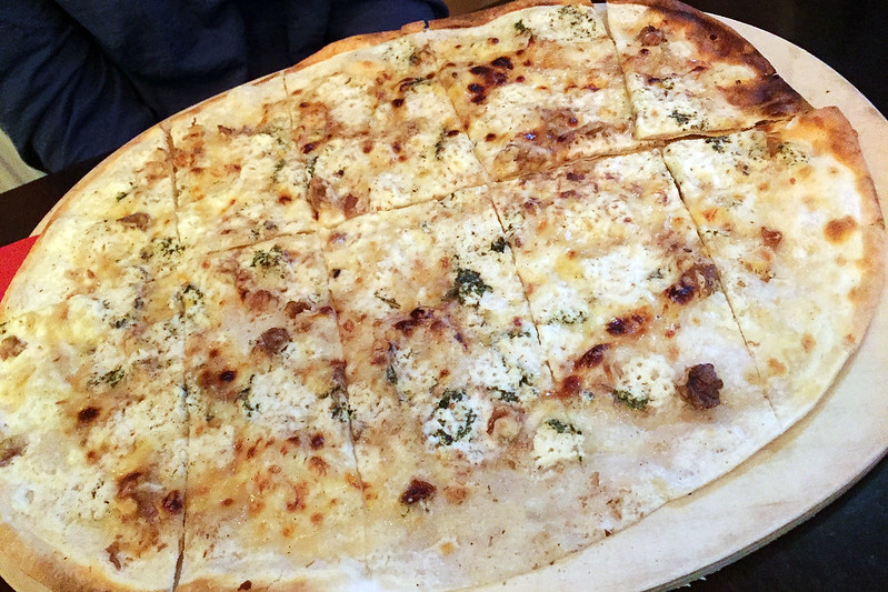 Goat cheese and honey flammkuchen