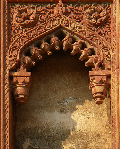 Elaborately carved sandstone niche at the Agra Fort, a 16th-century Mughal fortress, is another UNESCO World Heritage site in Agra, and in its own way just as beautiful as the Taj Mahal