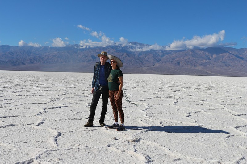Vicki and I posing on the salt at Badwater