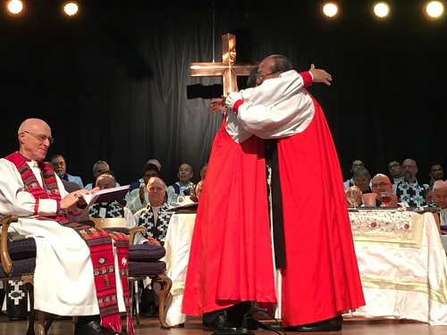 Archbishop of Canterbury Justin Welby and Archbishop of Chile Hector - Tito - Zavala Munoz greet each other as the Iglesia Anglicana de Chile becomes the Anglican Communions 40th Province