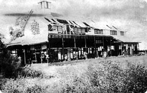 Damaged mission building