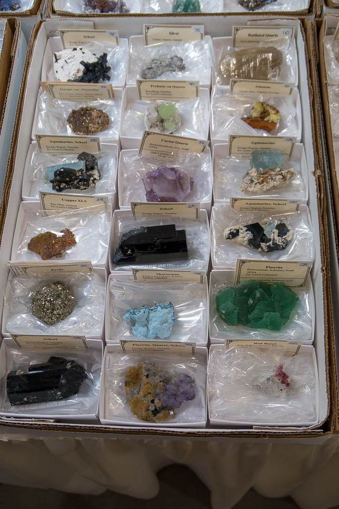Gems and minerals for sale at Tucson Gem and Mineral show.