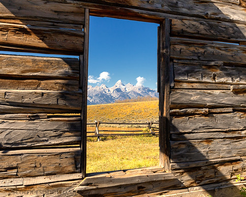 Luther Taylor Cabin and Teton Range, Kelly, WY