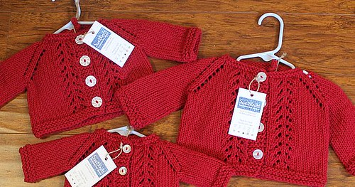 Red Handknits Lacy Cardigans with Hats by Sue2Knits