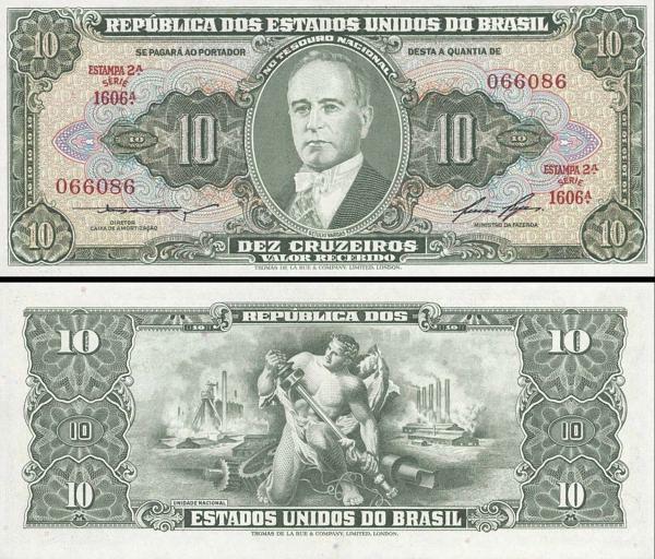 10 cruzeiros Brazília 1953-60, P159 UNC