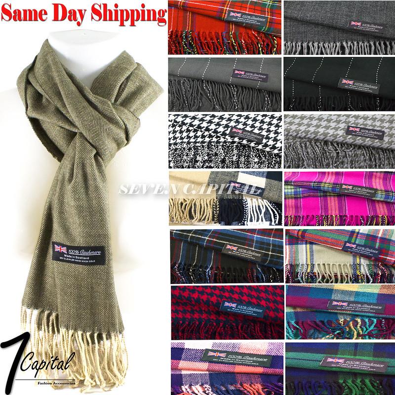 Women Winter Warm Soft 100/% Cashmere Scarf Scotland Made High Quality Plaid Wool