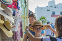 Hat Shopping in a Market in Cabo San Lucas