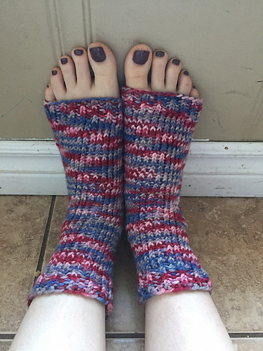 Christina knit herself another pair of pedicure socks!