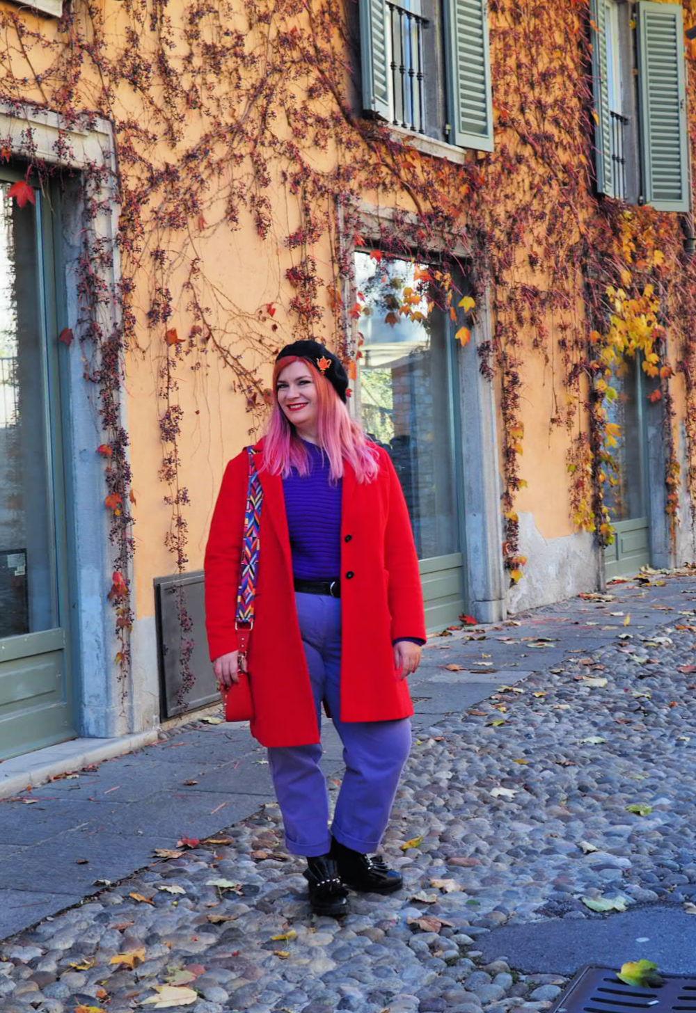 Outfit plus size curvy viola e rosso (10)