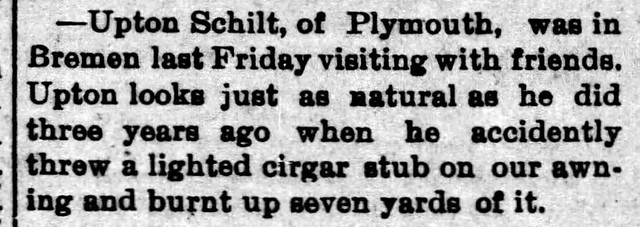 1893 - Upton Schilt cigar burnt awning - Enquirer - 1 Sep 1893