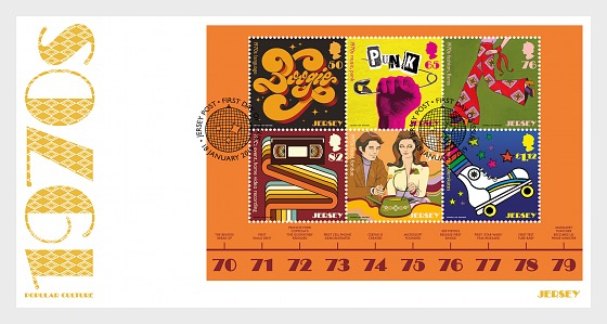 Jersey - Popular Culture: The 1970s (January 18, 2019) miniature sheet first day cover