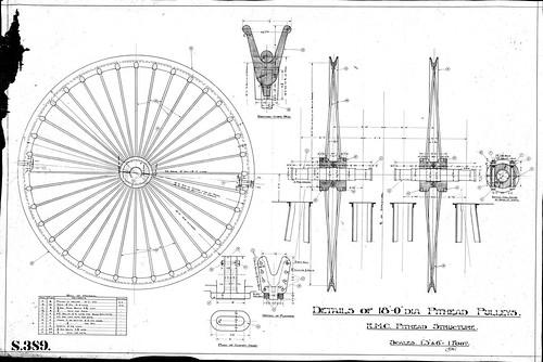 S389 RMC No.3 shaft 18ft dia headframe wheel
