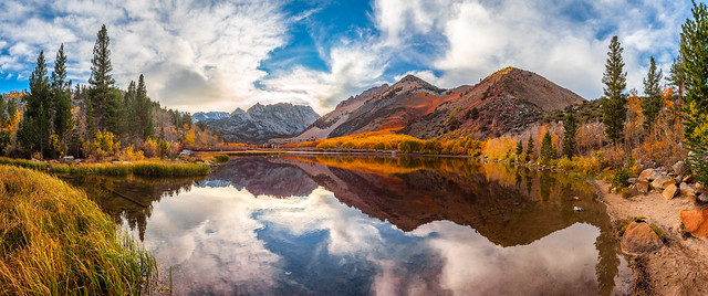 Huge Panorama Multishot Stitched in Lightroom! North Lake Bishop Creek Clouds! Eastern Sierras Fall Foliage California Fall Color! High Sierras Autumn Aspens Red Orange Yellow Green Leaves! Elliot McGucken California Fine Art Landscape Nature Photography