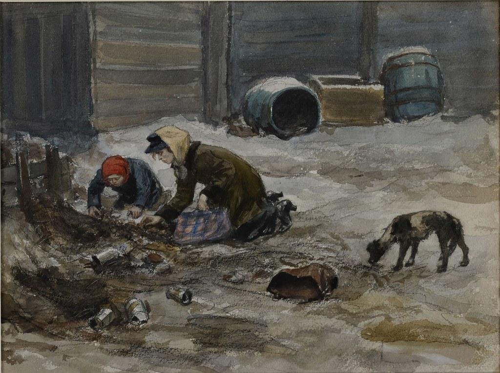 1919. Голодные времена в Петрограде. Дама с дочерью собирают на помойке картофельные очистки и селедочные головы. Нарисовано с нату