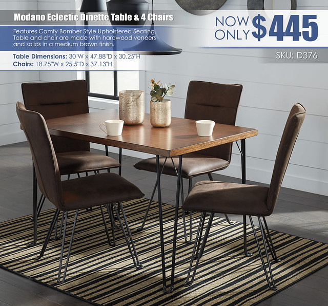 Modano Brown Black Table and Chairs_D376-MOOD-B