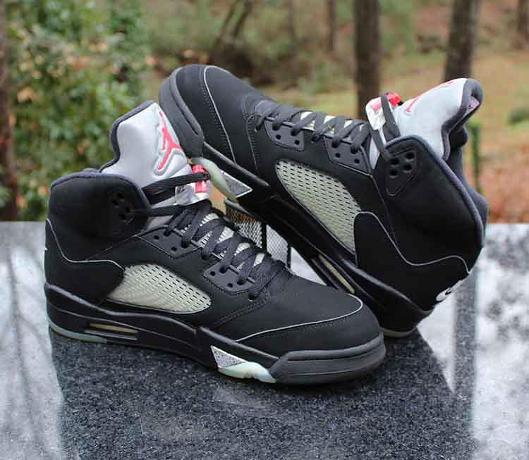 half off 18259 a6e53 Nike Air Jordan 5 Retro OG Black Metallic Silver Red White ...