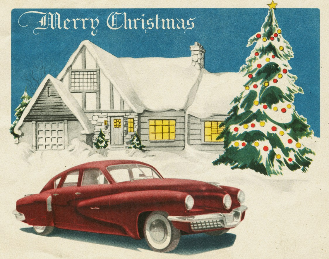 This Tucker Corporation Christmas greeting card is probably from December 1947 as it illustrates the basic design of the Tucker '48, but it has non-production trim.