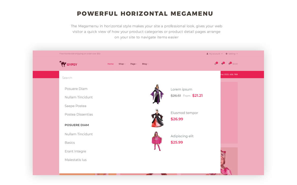 Bos Gypsy - Free PrestaShop Theme - horizontal mege menu