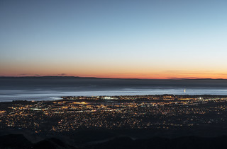 Dusk shot of Santa Barbara, California, and the Pacific shore, taken from bluffs high above the city. Original image from Carol M. Highsmith's America, Library of Congress collection. Digitally enhanced by rawpixel.