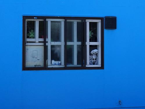 Window on blue wall