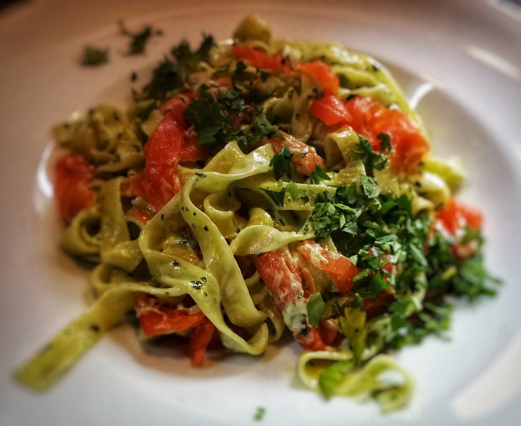 Fettuccine with smoked trout, Kafe Spesial