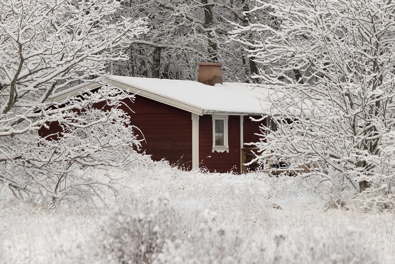 A Winter Landscape with Red House