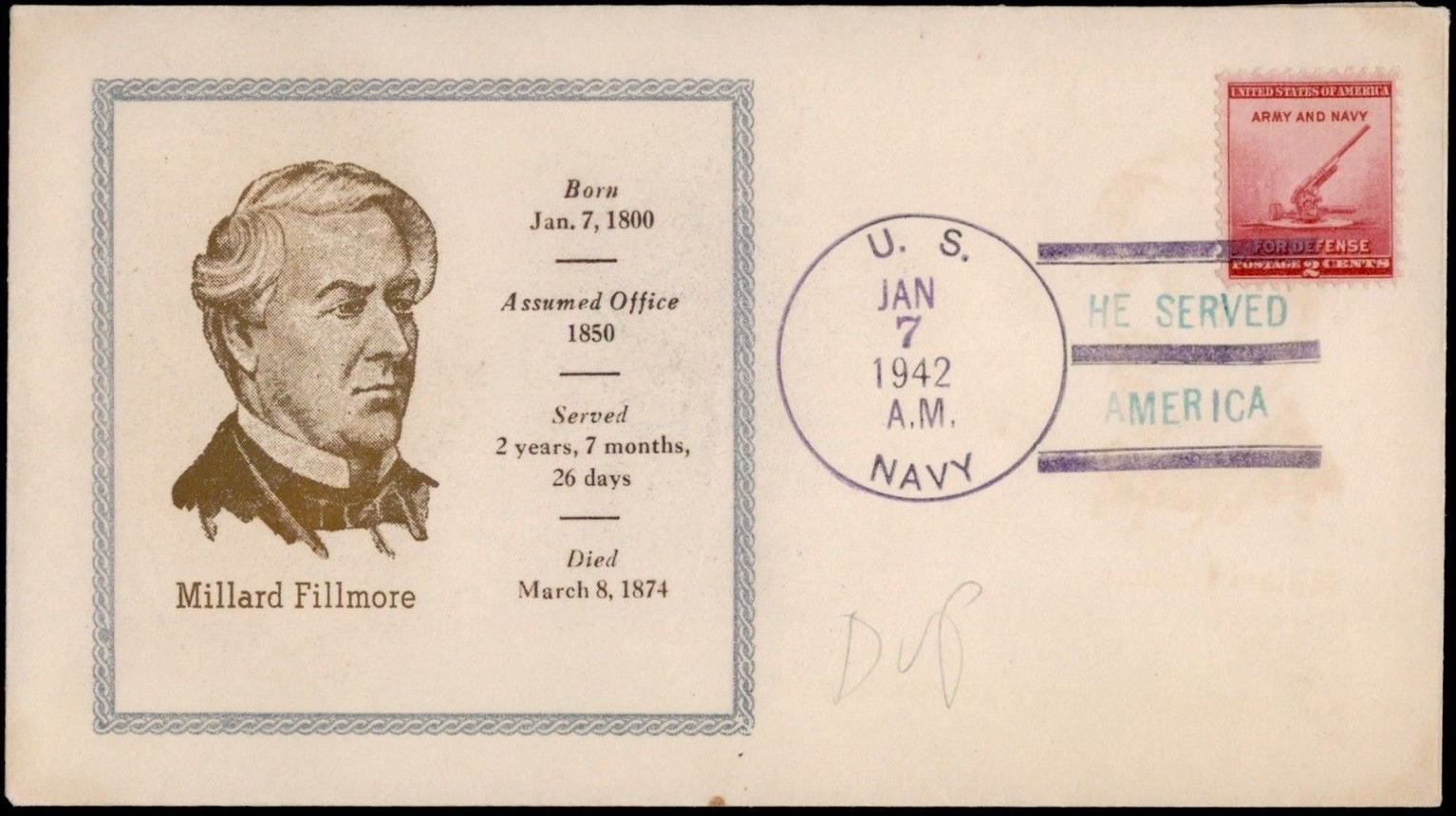 U.S. Navy cover postmarked January 7, 1942, marking Millard Fillmore's 142nd birthday anniversary.
