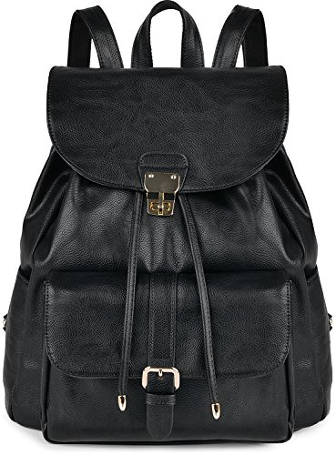 COOFIT Leather Backpack for Girls Casual Daypack Drawstring Schoolbag Travel bag (Black) Review